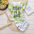 Calor! 2016 Nuevo Verano de bebé se Divierte el juego 100% de algodón de diseño de moda de bebé niños Marcas ropa fijada para 1 2 3 Años de envío gratis