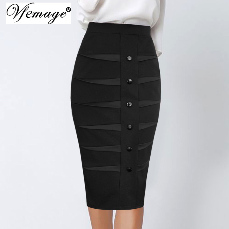 Vfemage Pencil-Skirt Buttons Satin Work Business Bodycon Elegant Vintage High-Waisted