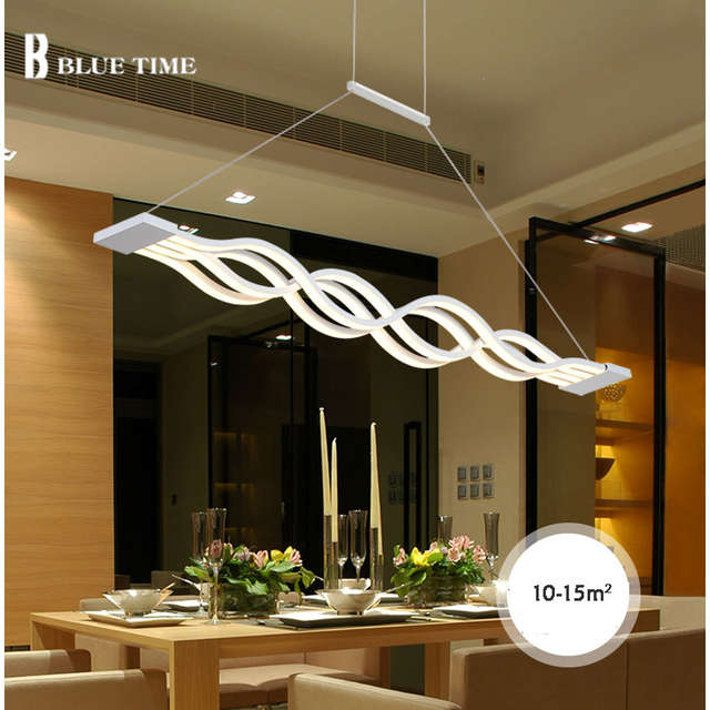 Nuevo creativo moderno LED colgante luces cocina acrílico + Metal  suspensión lámpara de techo para comedor habitación Lamparas con palo