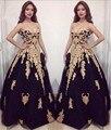 Novo Ouro Applique Preto Tulle Vestido de Baile Estilo Sexy Luxo vestido de festa Custom Made Uma Linha de Vestido de Noite Formal