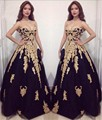 Nuevo Estilo de Oro Apliques de Tul Negro Vestido de Fiesta Sexy de Lujo vestido de festa Por Encargo Una Línea de vestidos de Noche Vestido Formal