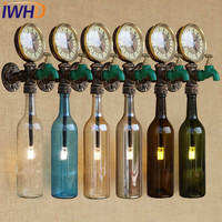 IWHD Loft Style Retro Bottle Faucet Water Pipe Wall Lamp Sconce LED Industrial Vintage Wall Light Fixtures Home Lighting