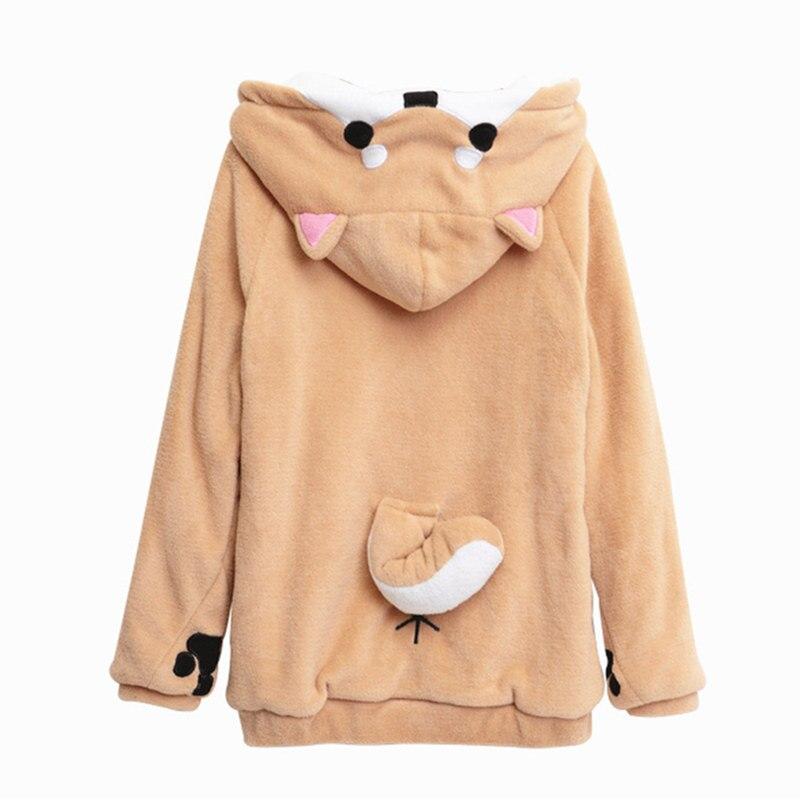 Harajuku japonais Kawaii vestes à capuche femmes Sweatshirts avec oreilles mignon Doge Muco hiver en peluche belle Muco Anime sweat à capuche