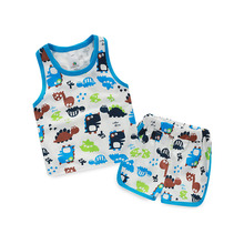 2015 summer new styles boys and girls cartoon print sleeveless vest shorts casual lounge wear sets TZ-2318