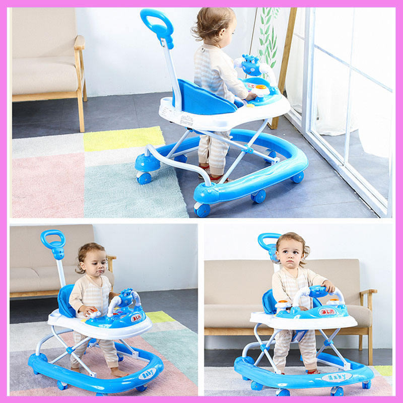 Baby Rollover Learning Walker Stroller Pushchair Baby Walker with 8 Wheels Music Adjustable Height Foldable Brake Walker Car