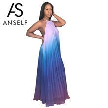 789d2d7e18f Anself Sexy Women Backless Maxi Dress Ombre Pleated Sleeveless Summer  Chiffon Dress