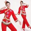 Nacional chinês Dança Yangko Roupas de Dança Traje Chinês do Ano Novo Chinês Vermelho Palco Perforamnce Costume com Headwear 89