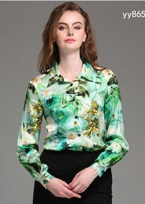Soie Émeraude vert feuille lily couleur tempérament à manches longues femmes de grande taille chemise printemps soie revers chemise