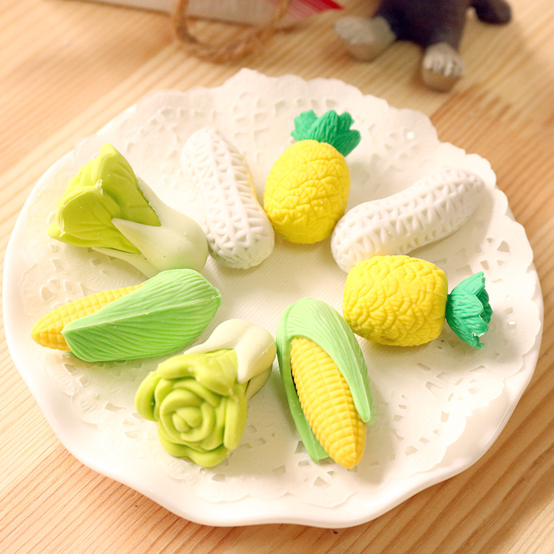 2Pcs/Pack New Pineapple Corn Peanut Cabbage Novelty Eraser Rubber Primary School Student Prizes Gift Stationery E0544
