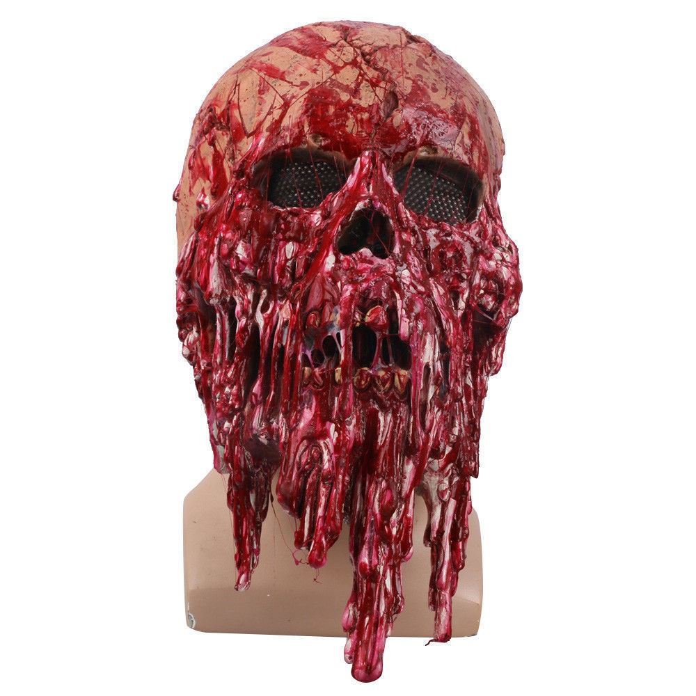 Halloween Scary Adults Men Bloody Zombie Skeleton Face Mask Costume Horror Latex Masks Cosplay Fancy Masquerade Props