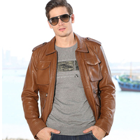 Military Style Casual Biker Leather Jackets For Mens Brand Clothing Imported China Biker Leather Jacket Coats 4 Pockets S2793