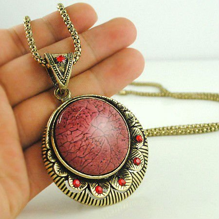 Wholesale 12pcs/Lot Newest Vintage Jewelry Round Synthetic Gemstone Pendant Necklace P054 Free shipping