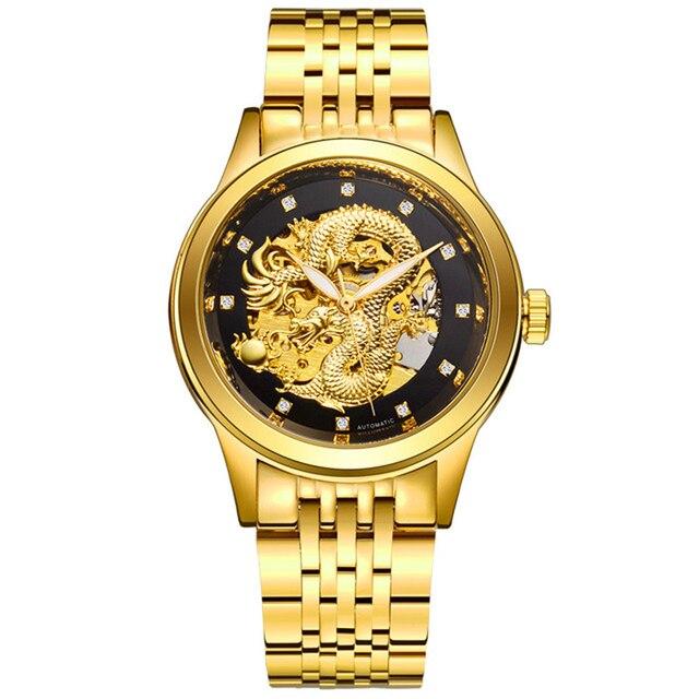 Beliebt Bevorzugt Herren Armbanduhr Drache Skeleton Automatische Mechanische Uhren #FO_72