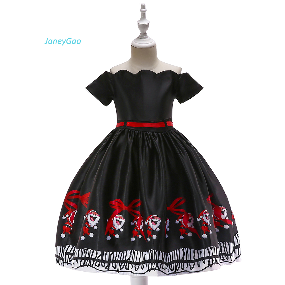 JaneyGao   Flower     Girl     Dresses   For Christmas Festival Party Little   Girl   Formal   Dresses   Princess Cute Formal Gown Black And Red