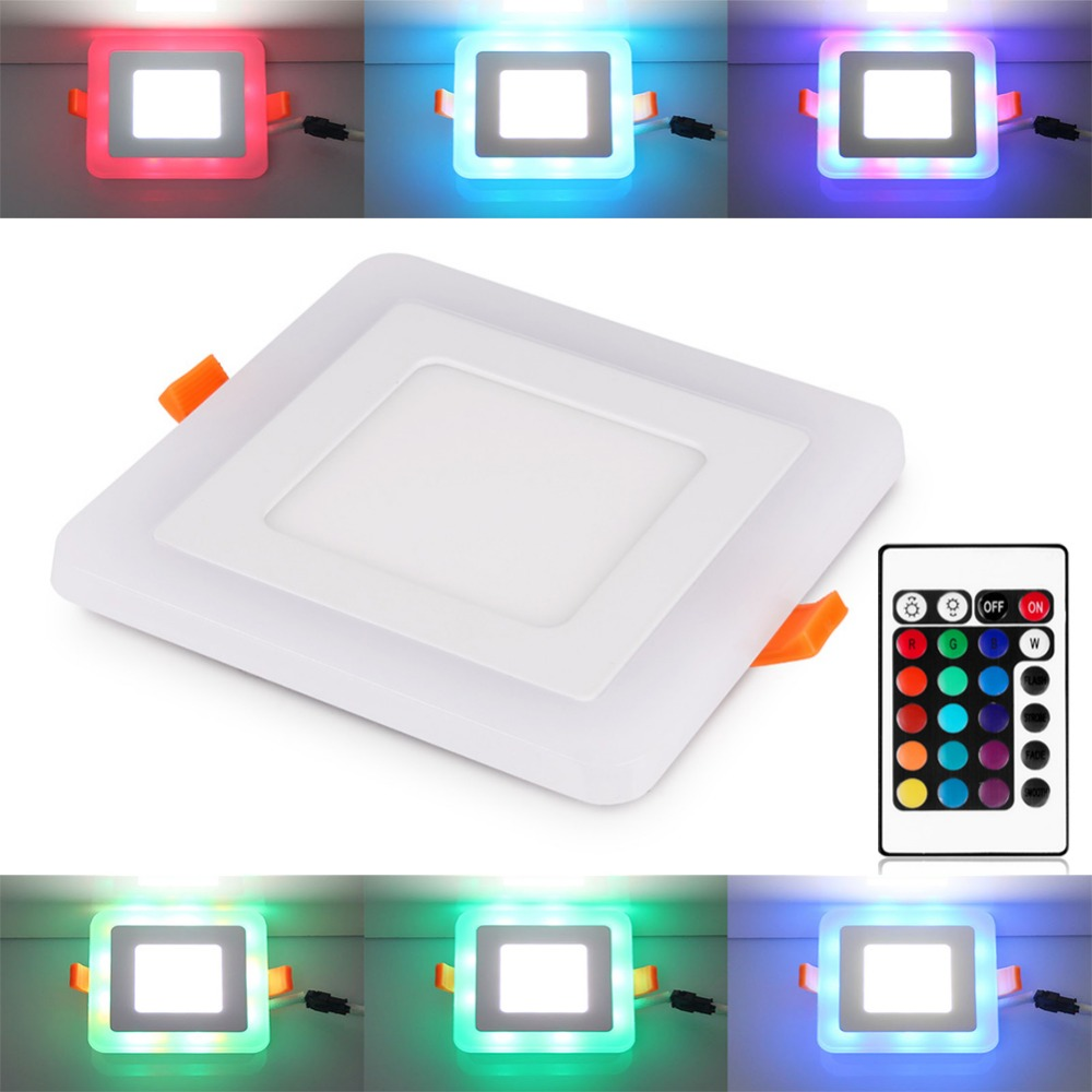 6//12//18W Dimmable RGB Color LED Panel Light Recessed Flat Ceiling Downlight UK