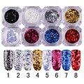 8 Boxes Laser Glitter Paillette Triangle Sequins Manicure Nail Art Decoration 8 Colors