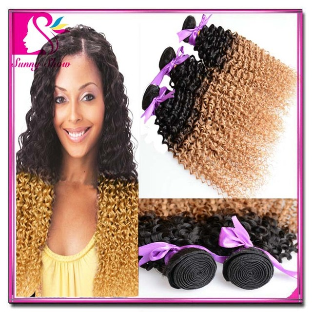 7a Raw Indian Hair 3pcs Lot Ombre Kinky Curly Virgin Hair Sew In