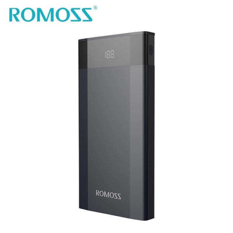 imágenes para 2017 nueva llegada original romoss banco de la energía 10000 mah dp10 rápida Pantalla LED de carga 3.0 Batería de Reserva Externa 2 USB QC3.0