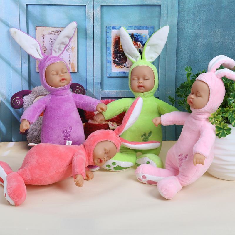 25cm Rabbit Stuffed Baby Doll Kids Plush Toy Children Simulated Babies Lifelike Sleeping Reborn Dolls for Girls Birthday Gift 25cm plush rabbit toy cute bunny stuffed soft doll big eyes small simulated animals plush toy gift for children kids toys