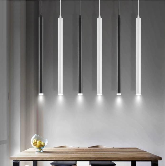 Decoration Pendant Light Bar Dining Room Cylinder Nordic Style Long Tube Kitchen