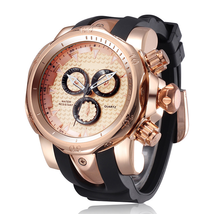 2016 Golden Luxury Watch Gummi Sportsklocka Mode Casual Quartz Män Armbandsur Klocka Hours Saat Relogio Masculino