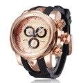 2016 Golden Luxury Watch Rubber Sports Watch Fashion Casual Quartz Men Wristwatch Clock Hours saat Relogio Masculino