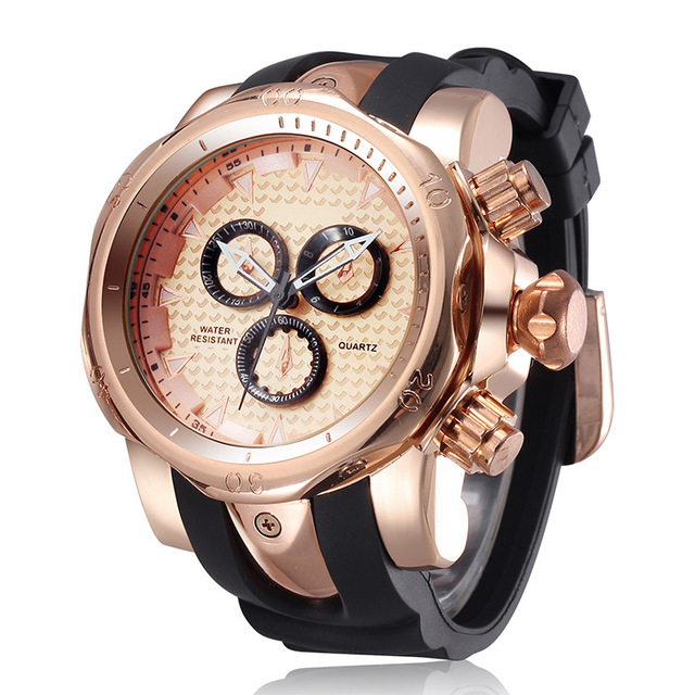 2016 Golden Luxury Watch Rubber Sports Watch Fashion Casual Quartz Men Wristwatc
