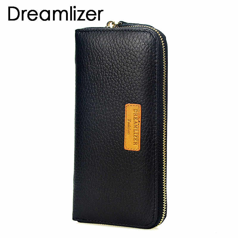 Brand Men Genuine Leather Wallet Long Design RFID Male Leather Clucth Purse Large Size Phone Bag Zipper Business Clutch Coin Bag