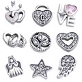 Hot Sale DIY Beads Fits Pandora Pendant Box 925 Sterling Silver Jewelry Accessories Interlocked Feminine Charm