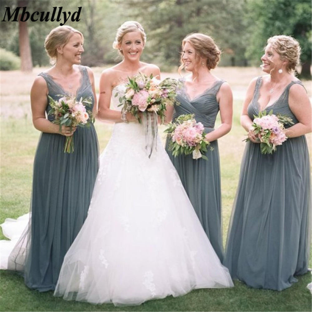 Mbcullyd Grey Tulle A Line   Bridesmaid     Dresses   V Neck Floor Length Long Elegant Wedding Party Gown Cheap Maid Of Honor   Dress