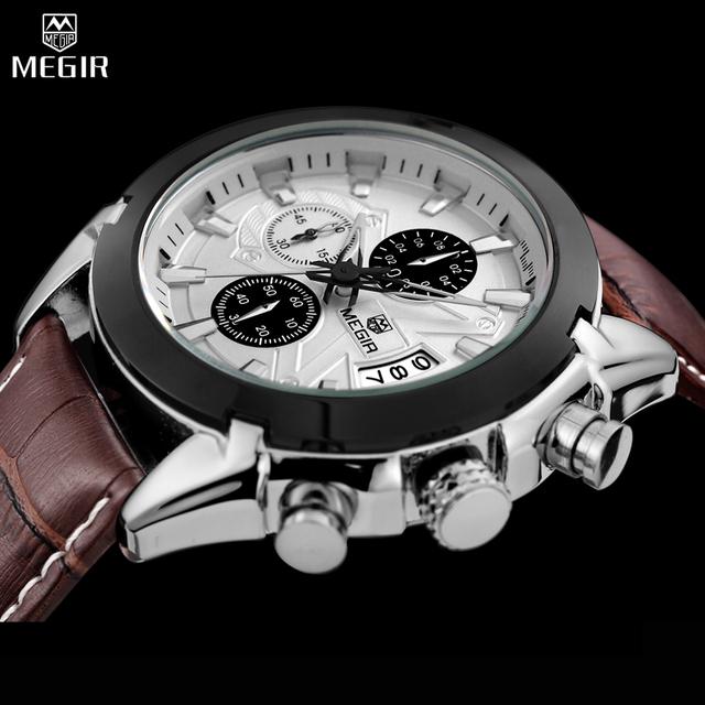 Megir cronógrafo casual reloj de lujo de los hombres reloj de cuarzo deporte militar reloj de los hombres de cuero genuino reloj de pulsera relogio masculino