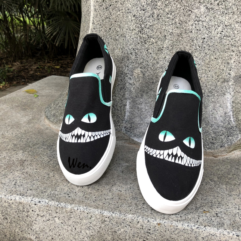 Wen Black Hand Painted Slip On Shoes Design Custom Cheshire Cat Men Womens Canvas Sneakers for Christmas Gifts