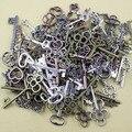 200 g/lote aprox 20-50 unids de Zinc Metal de la Aleación de Plata Del Tono Encanto de la Llave Colgante De Collar de la Joyería de DIY Que Hace 31-83mm (K00589)