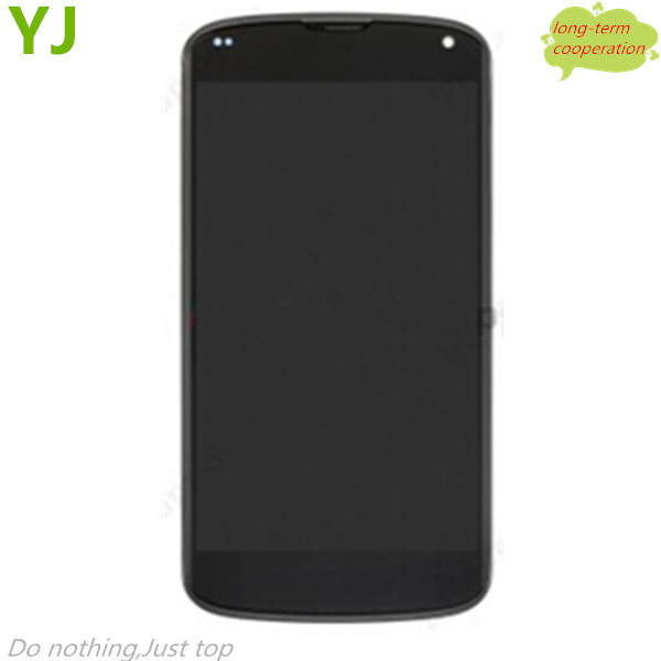 HK free shipping 100% Tested LCD Assembly with Touch Screen Digitizer for LG Nexus 4 E960 (OEM) Assembly with front frame