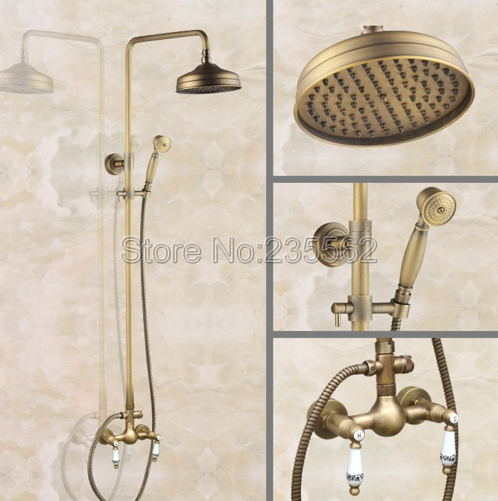 Antique Brass 8 inch Shower Heads Bathroom Rain Shower Faucet Set Wall Mounted Dual Ceramic Handle Mixer Tap +Hand Spray lan102Antique Brass 8 inch Shower Heads Bathroom Rain Shower Faucet Set Wall Mounted Dual Ceramic Handle Mixer Tap +Hand Spray lan102