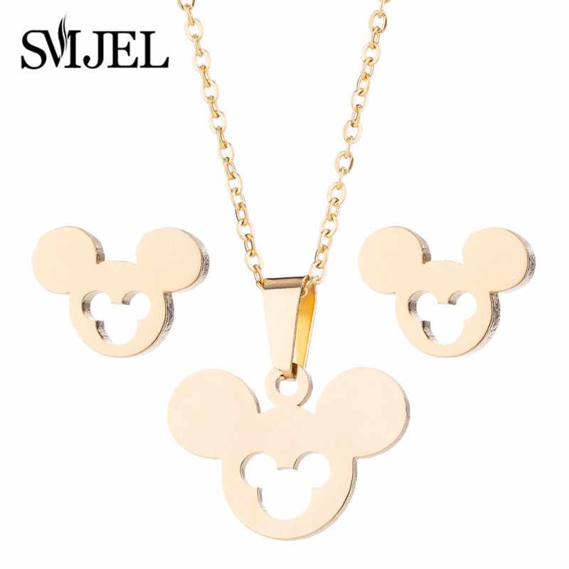 SMJEL Nette Tier Mickey Ohrringe Halsketten Gold Schmuck Set für Frauen Edelstahl Stud Ohrringe Kinder Mädchen Geschenke
