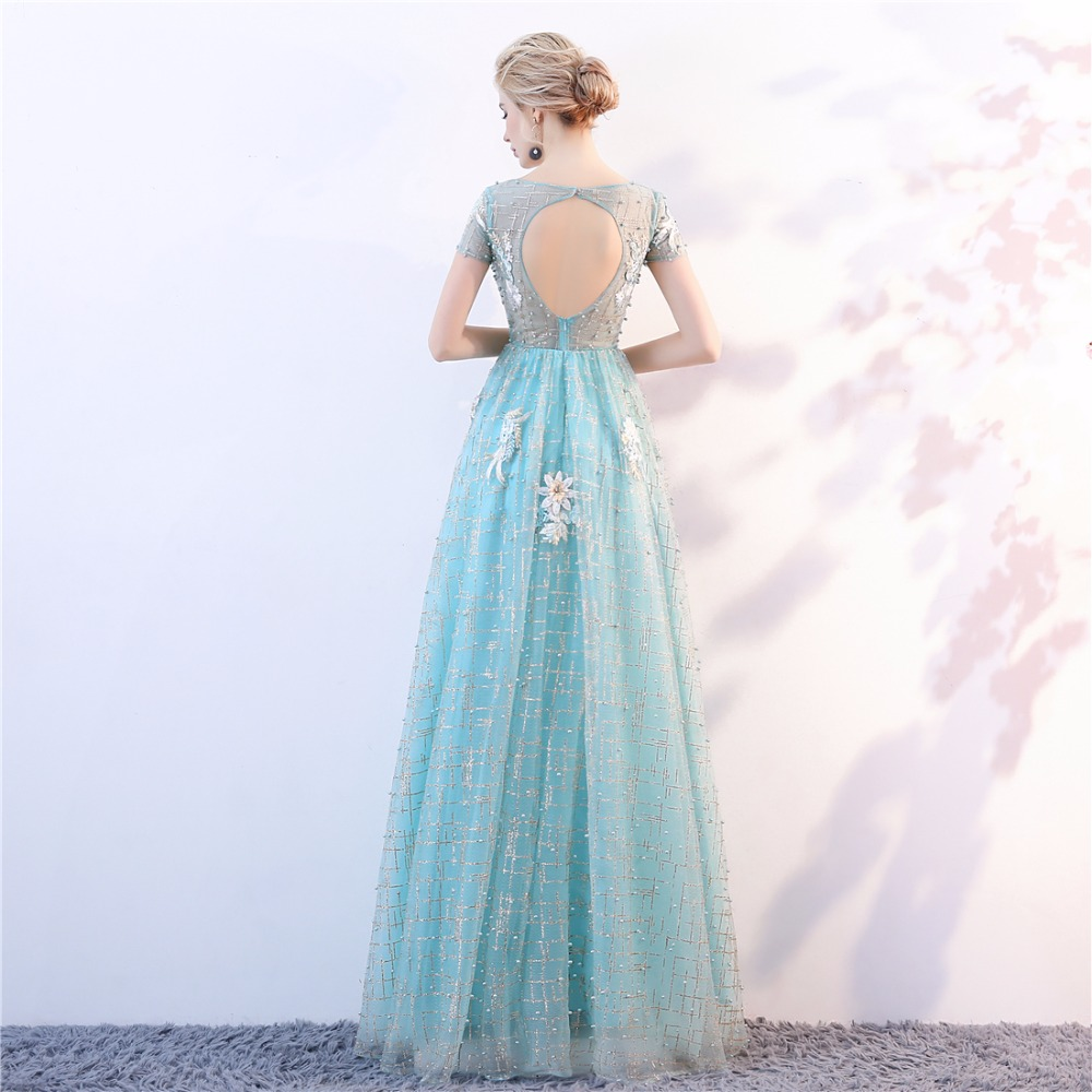 2018NEW O-Neck Pärlor Bodice Open Back En Line Long Evening Dress - Särskilda tillfällen klänningar - Foto 5