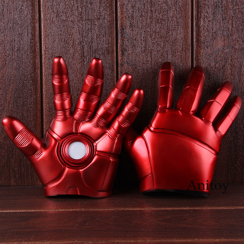 Marvel Avengers Infinity War Iron Man Glove Led Ironman Gloves PVC Figure Collectible Model Cosplay Toys 2-Pack 1