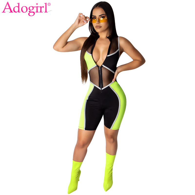 Adogirl Color Patchwork Sheer Mesh Jumpsuit Front Zipper V Neck Sleeveless Slim Playsuits Women Sexy Night Club Romper Overalls