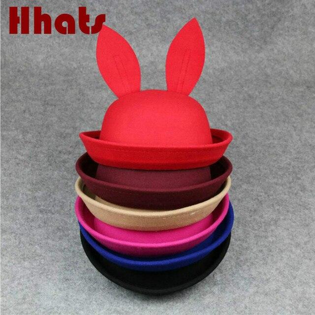 556f0629793 children winter cap cartoon rabbit ear wool felt hat fashion spring fedora  hat solid color floppy cloche jazz hat bonnet for kid