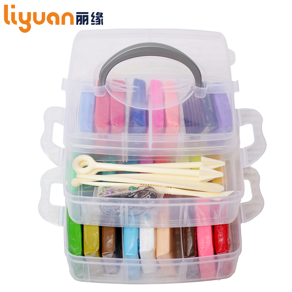 Liyuan 50 Colors Polymer Clay Set [Double Deck] Colored Modeling Clay Playdough with Tool Set Gift Box for Child 1000g/35.27oz