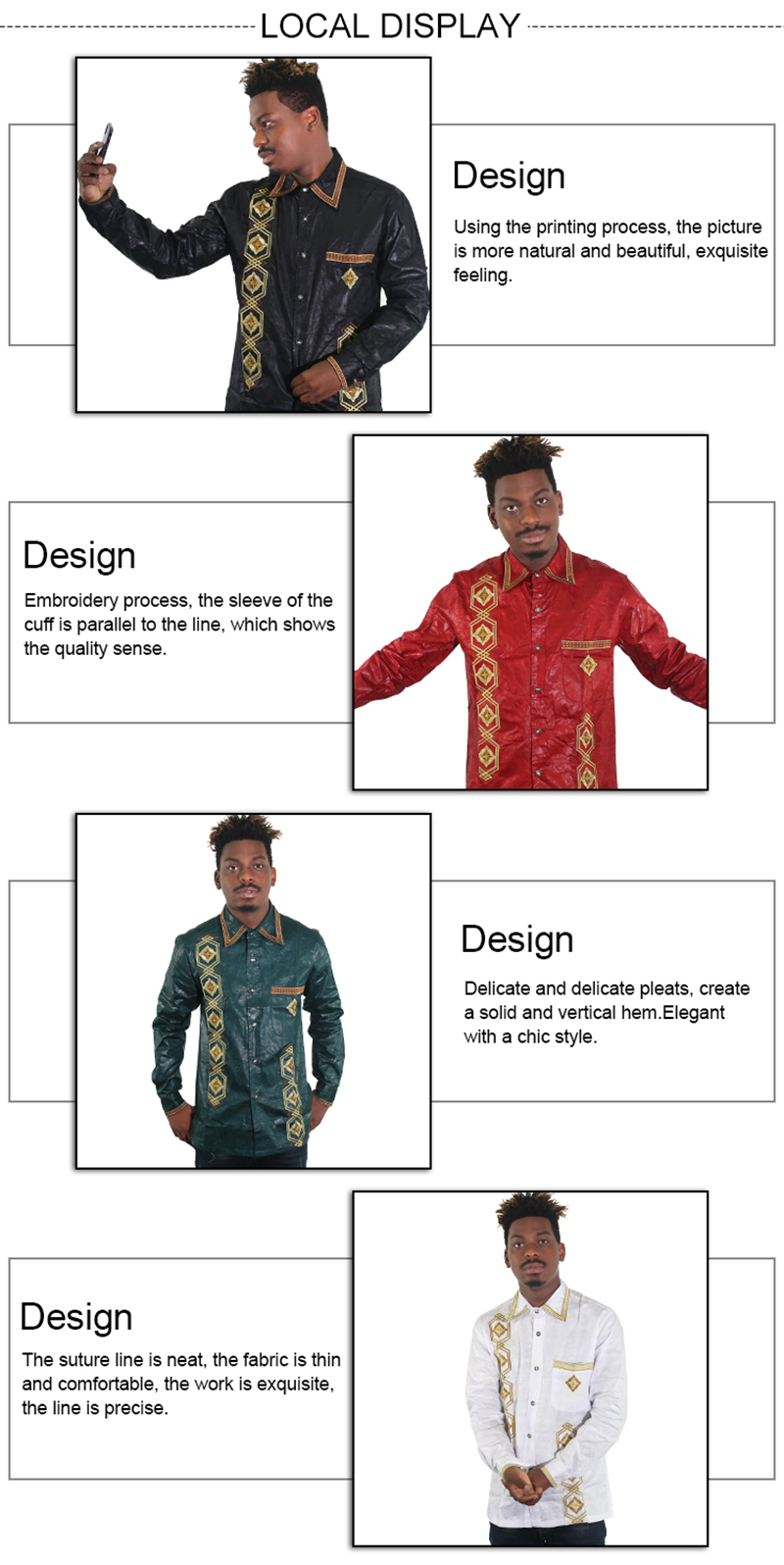 MD african men clothes embroidery dashiki shirts long sleeve