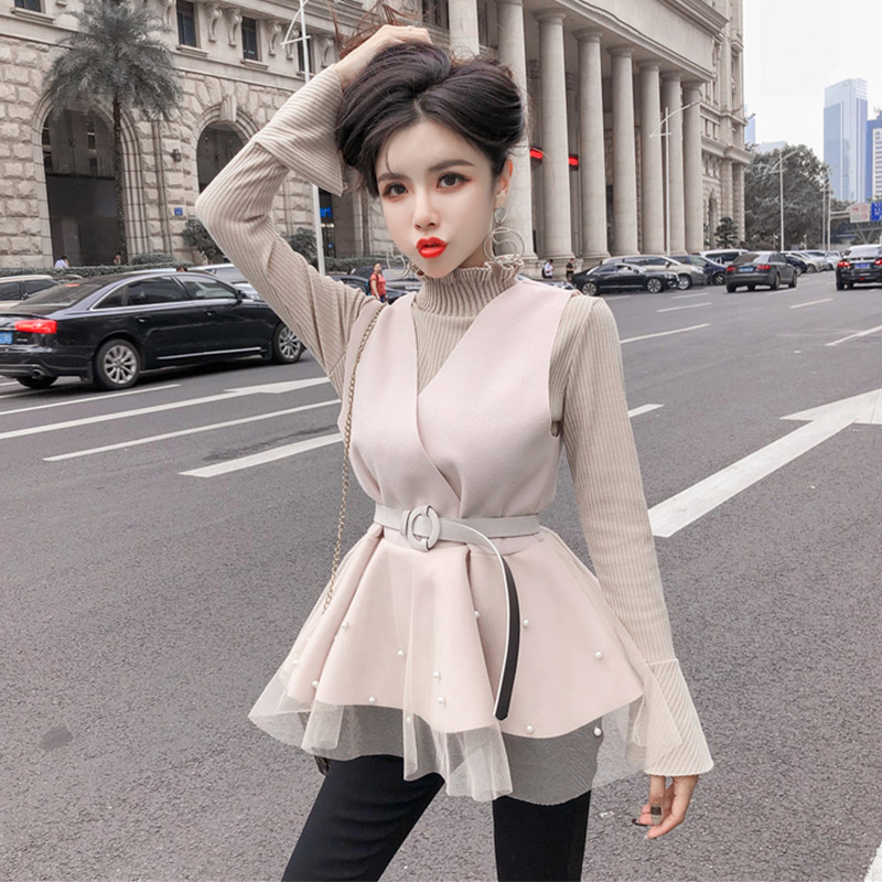 Fashion Brand Hipster Women's Clothing Basic Knitted Sweater And Vest Fall Winter Female Pullover Turtleneck Sweaters Sweet Tops