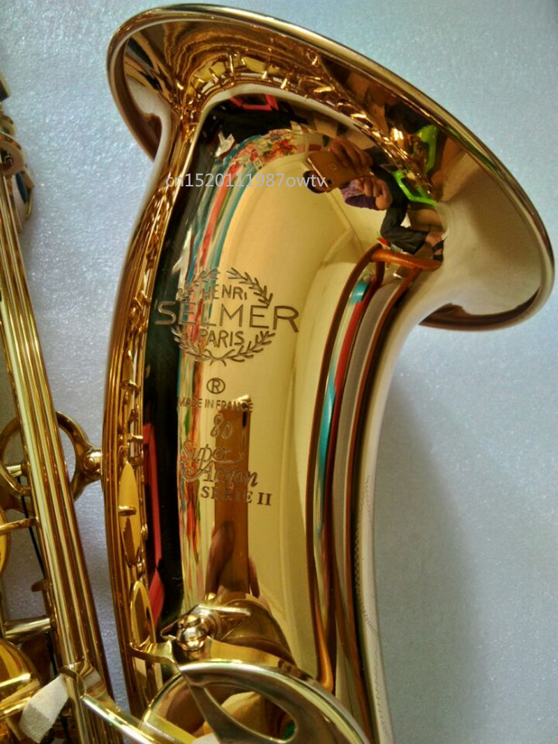 2018 New free France Selmer Sax Professional Bb Tenor Saxophone Instruments Super Action 80 Series II Gold Plated Surface france henri selmer bb tenor saxophone instruments reference 36 drop b saxophone surface gold lacquer pink body professional sax