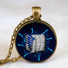 Steampunk JaPan anime Attack on Titan Pendant women men Necklace glass 1pcs/lot mens handmade jewelry dr who chain fashion charm