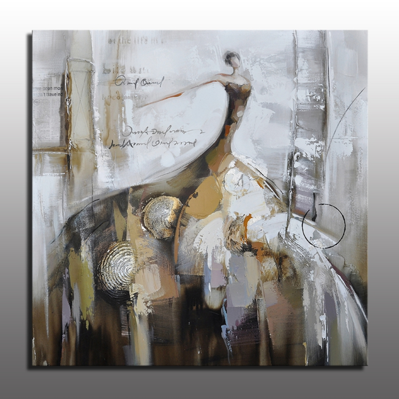 Beautiful Modern Woman Figure Oil Painting Canvas Wall Art For Living Room Decoration Abstract Women in Big Dress Painting