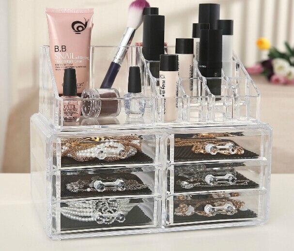 Cosmétique Maquillage Transparent Boîte Acrylique Cosmétiques Organisateur De Bureau Boîte Transparente de stockage Cas de Grande Nail Amovible Affichage