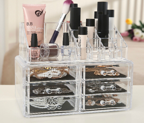 Cosmetic Transparent Makeup Box Acrylic Cosmetics Organizer Desktop Clear Box storage Case Large Nail Removable Display