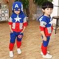 2016 New Arrival Boys Girls Clothes Suit pentacle star letter Captain America Zipper jacket + pants 2pcs/set Kids Set Children's