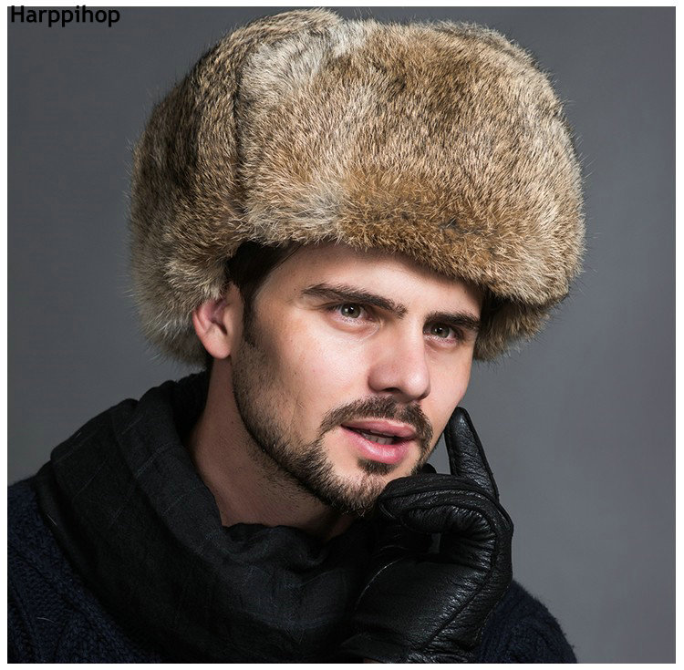 6f9a6acbf1b Dropwow High Quality Mens 100% Real Rabbit Fur Winter Hats Lei Feng ...